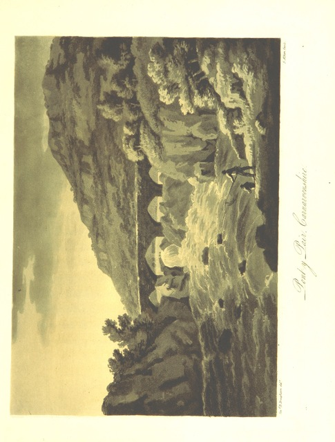 """engraving from """"[Four Picturesque Views in North Wales, engraved in aquatinta by Alken, from drawings made on the spot, by the Rev. B. Broughton ... With poetical reflections on leaving that country.]"""""""
