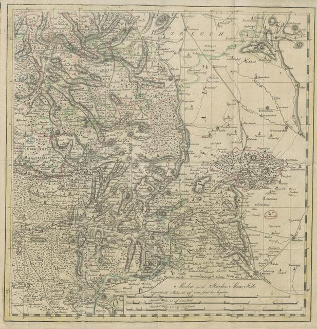 """map from """"Historisch-topographische Beschreibung des kaiserlichen Hochstifts und Fürstenthums Bamberg; nebst einer neuen geographischen Originalcharte dieses Landes"""""""