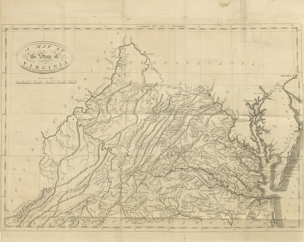 "map from ""[Jefferson's notes on the State of Virginia; With the Appendixes ... To which is subjoined a sublime and argumentative dissertation on Mr. Jefferson's Religious principles [entitled: A Vindication of the Religion of Mr. Jefferson and a statement of his services in the cause of religious liberty. By a friend to real religion].]"""