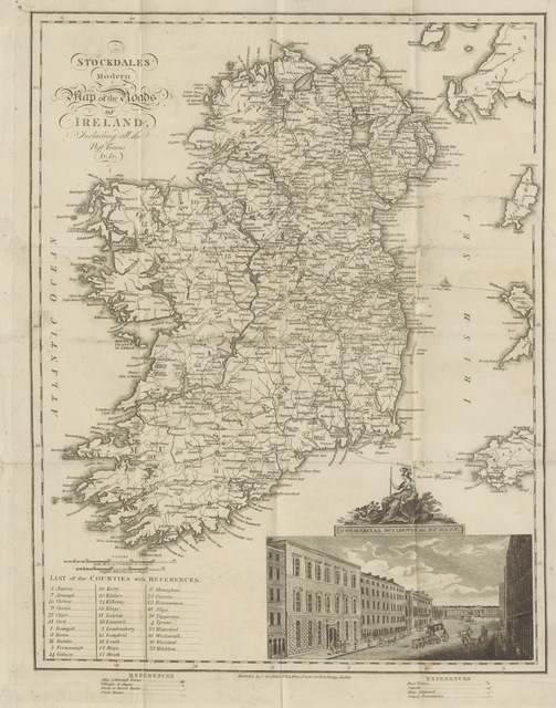 """map from """"The Traveller's Director through Ireland, being a topographical description of all the roads, cities, towns, etc., and an epitome of the ecclesiastical, civil, military and natural history of Ireland"""""""
