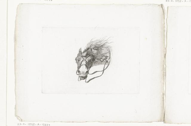 Paardenhoofd met wapperende manen, naar links