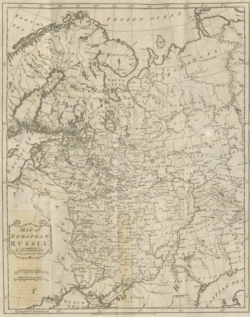 "European Russia from ""[Travels into Poland, Russia, Sweden, and Denmark. Interspersed with historical relations and political inquiries. Illustrated with charts and engravings.]"""