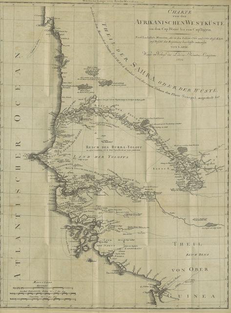 """map from """"Reise nach Senegal in den Jahren 1784 und 1787 von G. Lajaille. Aus dessen Papieren herausgegeben vom Herrn la Barthe ... Von M. C. Sprengel"""""""