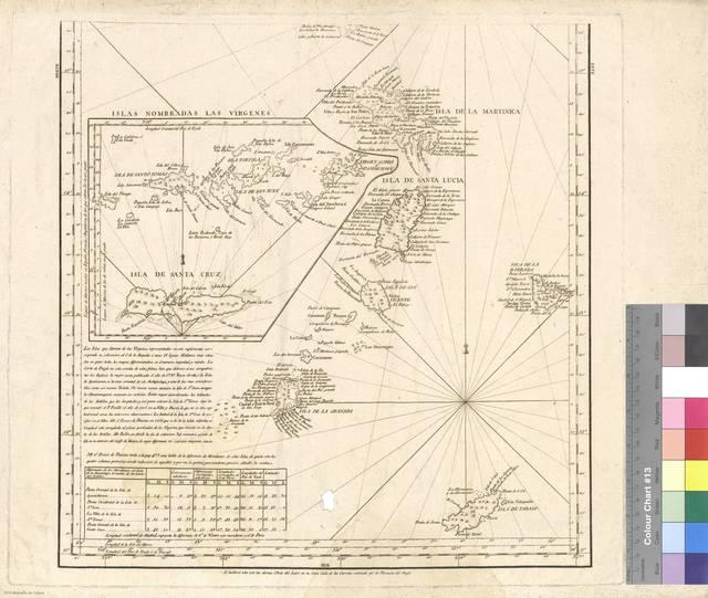 [Mapa de las Windward Island y Leeward Islands