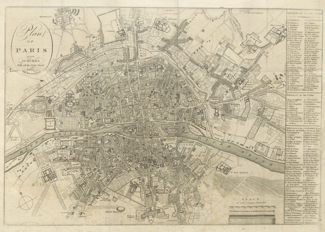 """Paris from """"The History of the rise and progress of the Revolution in France, with an impartial and concise account of the late war ... By the same society that compiled the Edinburgh New Geographical Grammar. Embellished with select maps, illustrative of the marches and countermarches of the belligerent powers"""""""
