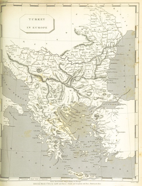 """Turkey from """"Modern Geography, a description of the Empires, states, and colonies, with the oceans, seas and islands in all parts of the World ... The Astronomical Introduction by the Rev. S. Vince. With numerous maps"""""""