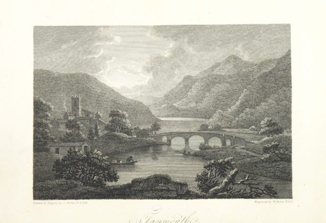 """bridge from """"Scottish Scenery: or, Sketches in verse, descriptive of scenes chiefly in the Highlands of Scotland: accompanied with notes and illustrations; and ornamented with engravings by W. Byrne ... from views painted by G. Walker, etc"""""""
