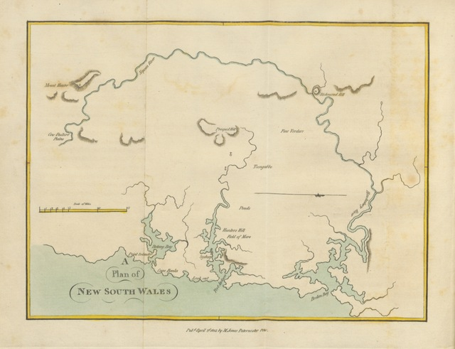 "map from ""[[A voyage to Botany Bay.] A voyage to New South Wales; with a description of the country; the manners, customs, religion, &c. of the natives, in the vicinity of Botany Bay.]"""