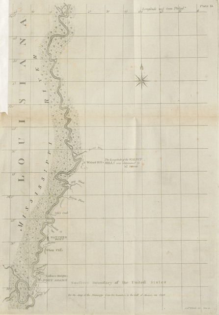 "map from ""The Journal of Andrew Ellicott, late Commissioner on behalf of the United States ... for determining the boundary between the United States and the possessions of his Catholic Majesty in America ... With six maps ... To which is added an appendix containing all the astronomical observations made, etc"""