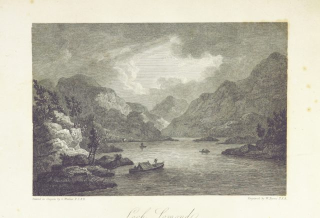 """portrait from """"Scottish Scenery: or, Sketches in verse, descriptive of scenes chiefly in the Highlands of Scotland: accompanied with notes and illustrations; and ornamented with engravings by W. Byrne ... from views painted by G. Walker, etc"""""""