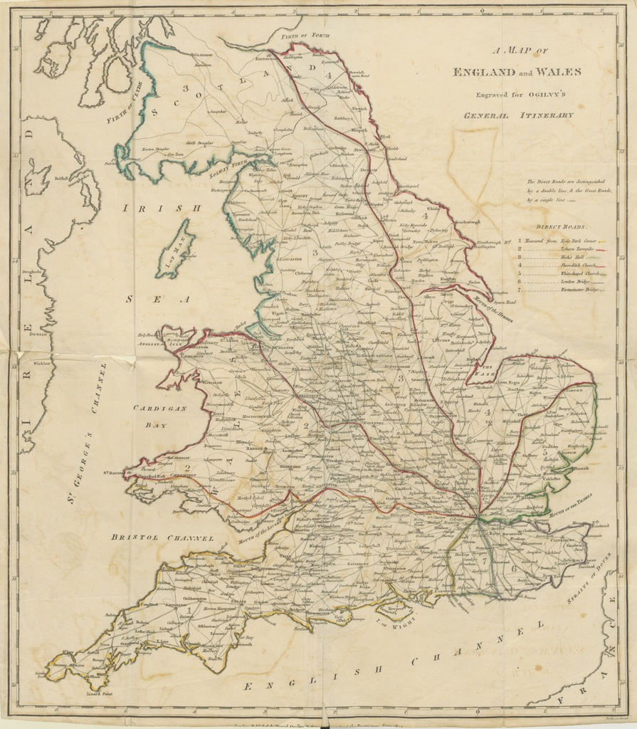 """map from """"A General Itinerary of England and Wales, with part of Scotland, etc. [With a map.] coll. 594"""""""