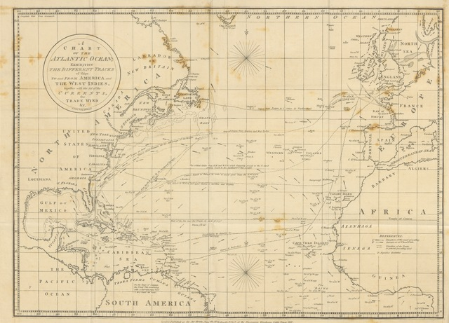 "map from ""Steel's Atlantic and West-Indian Navigator, or Sailing Directions ... for the navigation of the Atlantic Ocean and of the West Indies ... To which are added an examination into the true cause of the Gulf Stream, &c., by J. Manderson, and an appendix containing remarks made on the coasts of the United States of America in His Majesty's ships Resolution and St. Albans, by M. Downie"""