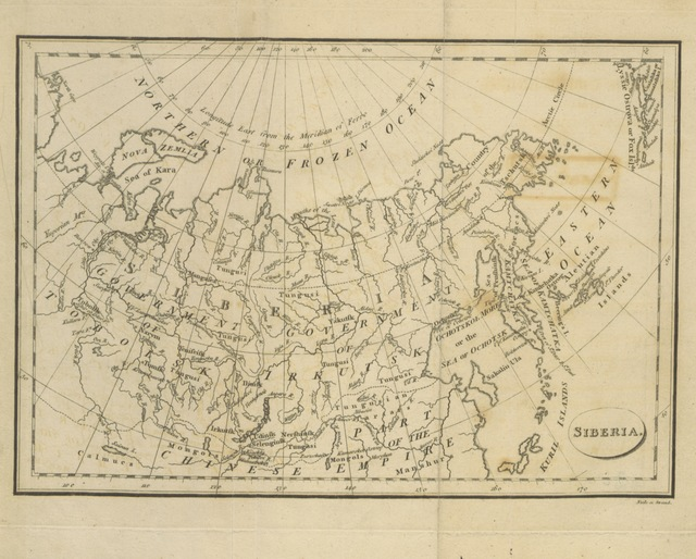 """map from """"[Supplement to the Russian Discoveries. (A Comparative View of the Russian Discoveries with those made by Captains Cook and Clerke; and a sketch of what remains to be ascertained by future navigators.)]"""""""