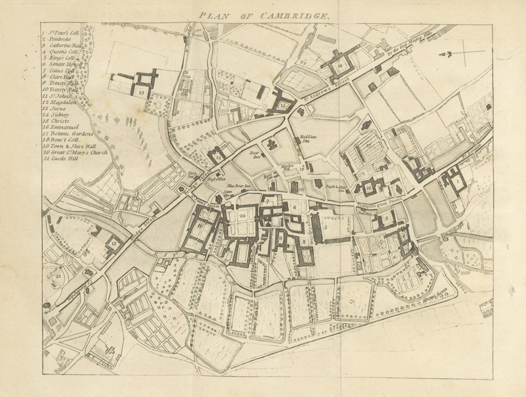 """map from """"The New Cambridge Guide; or a Description of the University, town, and county of Cambridge, etc. [With plates.]"""""""