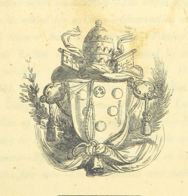 "heraldry from ""The Life and Pontificate of Leo the Tenth. (Dissertation on the character of Lucrezia Borgia.-F. Arsilli de Poetis Urbanis ad P. Jovium libellus.)"""