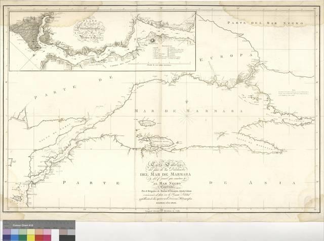 Carta Esferica del paso de los Dardanelos, del mar de Mármara y del Canal que conduce al mar Negro [Material cartográfico]