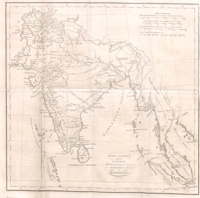 """map from """"[Indian Antiquities: or, Dissertations relative to the ancient geographical divisions, the ... primeval theology, the grand code of civil laws, the original form of government, and the ... literature of Hindostan, compared ... with the religion, laws, government and literature of Persia, Egypt and Greece. The whole intended as introductory to ... the History of Hindostan.]"""""""