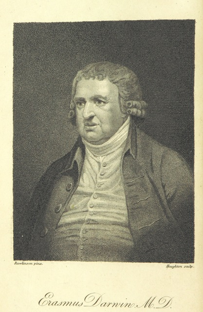 """portrait from """"The Poetical Works of Erasmus Darwin ... Containing the Botanic Garden ... and the Temple of Nature. With philosophical notes and plates"""""""
