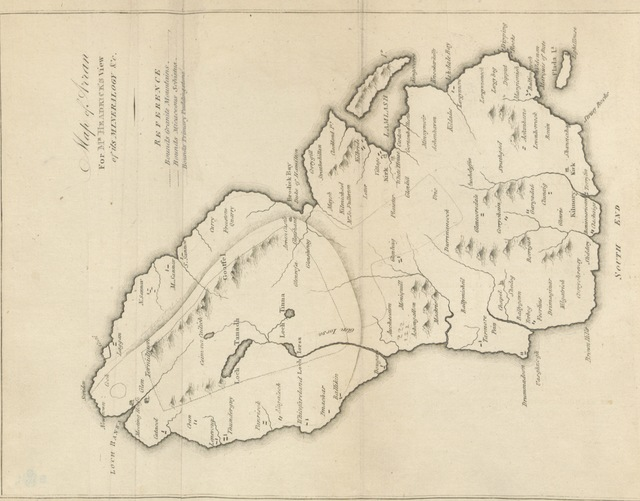"""map from """"View of the mineralogy, agriculture, manufactures and fisheries of the Island of Arran. With notices of antiquities and suggestions for improving the agriculture and fisheries of the Highlands and Isles of Scotland"""""""