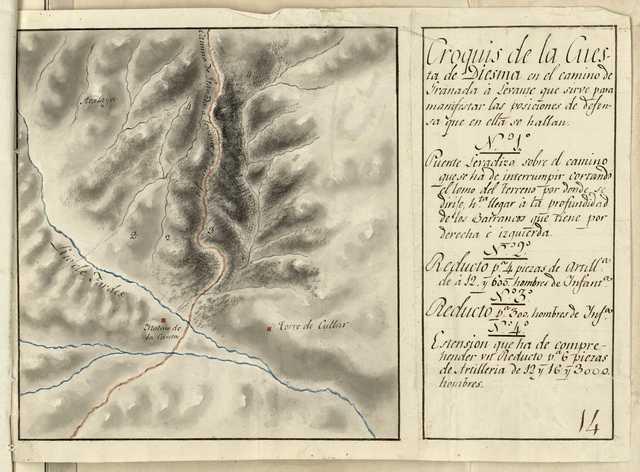 Croquis de la Cuesta de Diesma en el camino de Granada á Levante que sirve para manifestar las posiciones de defensa que en ella se hallan