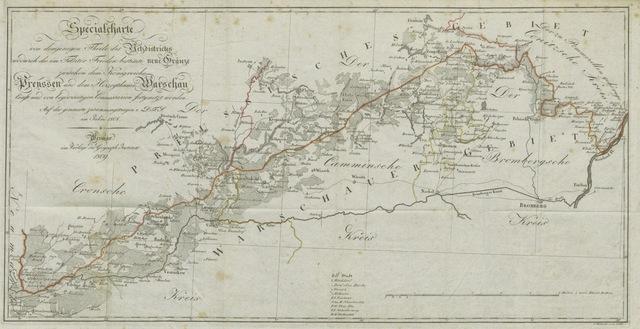 """map from """"Ueber die durch den Tilsiter Frieden vom 9. Julius 1807 veranlasste Theilung von Westpreussen, deren Flächen-Inhalt und die jetzige neue Gränze von der Drage bis zur Weichsel, etc"""""""