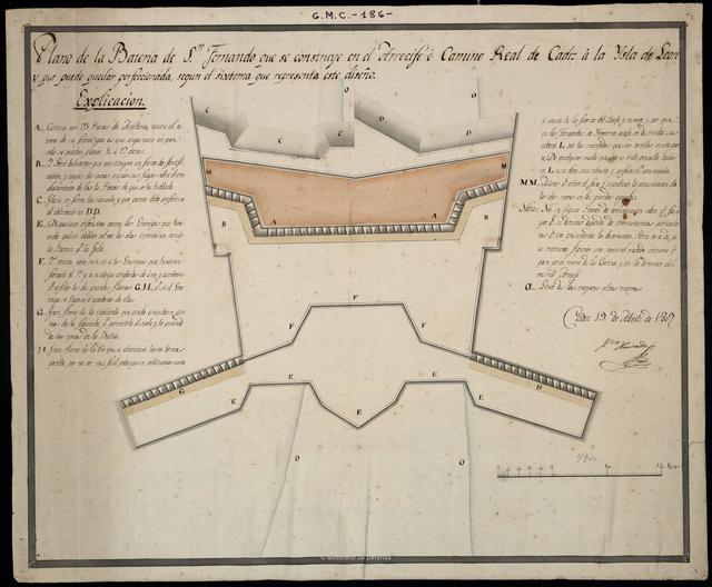 Plano de la Batería de Sn. Fernando que se construye en el Arrecife ó Camino Real de Cadiz á la Isla de Leon y que puede quedar perfeccionada, segun el sixtema que representa este diseño