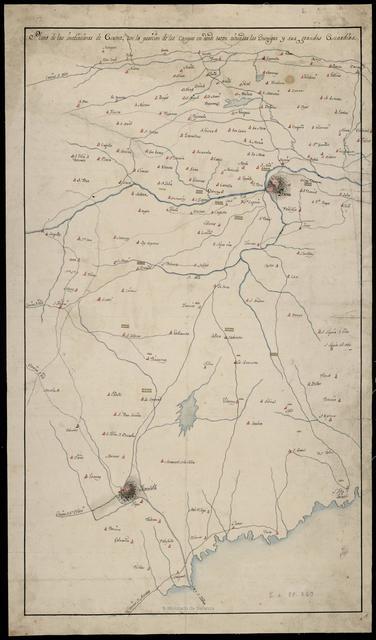 Plano de las inmediaciones de Gerona, con la posición de los Campos en donde estan situados los Enemigos u sus grandes Guardias