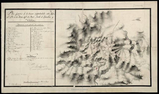 Plano geométrico de los terrenos comprehendidos entre Monseñ, Pla de las Arenas, Coll del Buch, Pueblo de Espinelbas y Viladrau
