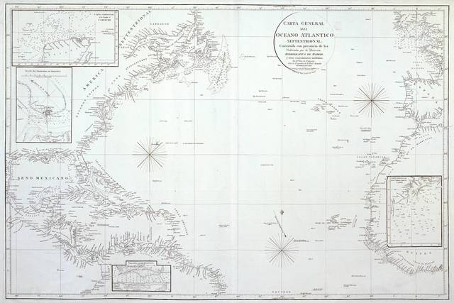 Carta General del Océano Atlántico septentrional : construida con presencia de las Publicadas por la Dirección Hidrográfica de Madrid. Y otros conocimientos modernos