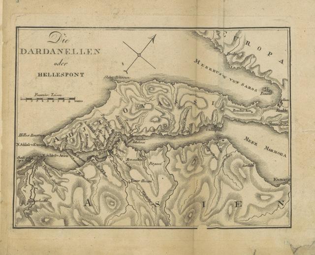 """map from """"Beschreibung von Constantinopel ... Nebst einem Plane und einem Prospekte dieser Stadt, so wie einer Charte von den Dardanellen"""""""