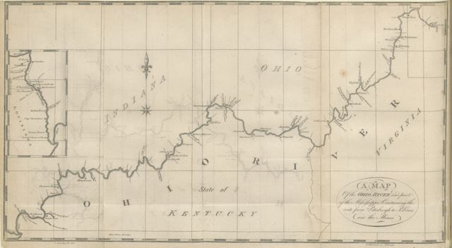 "map from ""Travels, or an inland voyage through the States of New York, Pennsylvania, Virginia, Ohio, Kentucky and Tennessee, and through the territories of Indiana, Louisiana, Mississippi and New Orleans-in 1807 and 1808. With maps and plates"""