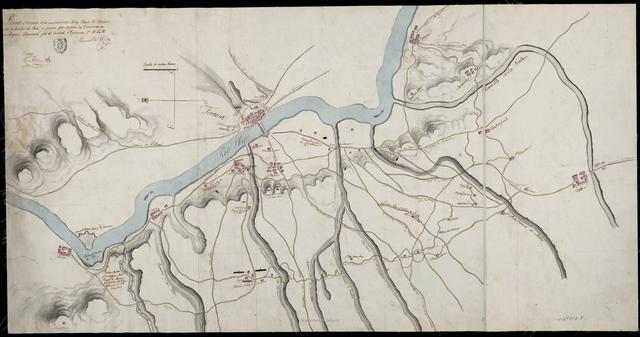 Plano-croquis de las inmediaciones de la Plaza de Tortosa por la derecha del Ebro, y puntos que ocupan las Divisiones en su bloqueo