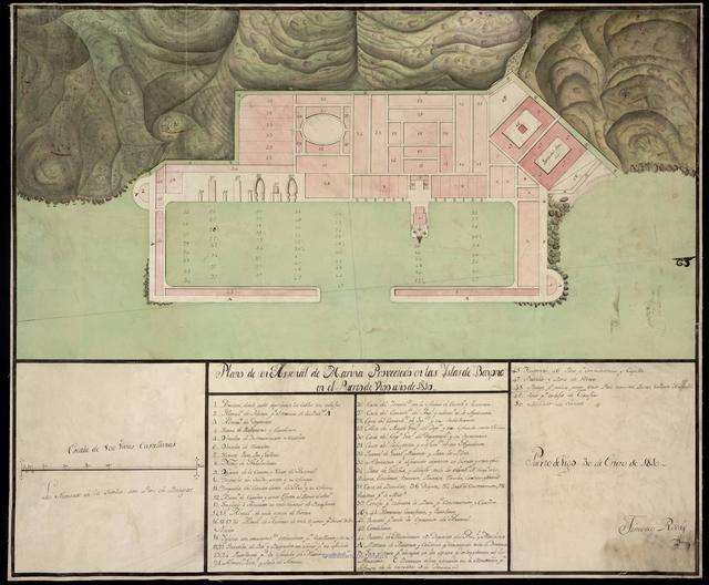 Plano de un Arsenal de Marina Proyectado en las Yslas de Bayona en el Puerto de Vigo : año de 1810