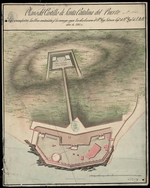 Plano del Castillo de Santa Catalina del Puerto : En el que se manifiestan las Obras construidas pr. los enemigos segun las observaciones de Dn. Jorge Ladman Capn. de Rl. Ynges. de S.M.R. año de 1810