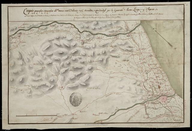 Croquis geográfico - topográfico del terreno entre Valencia y Murviedro, extendiendose por la izquierda hasta Liria y Segorve