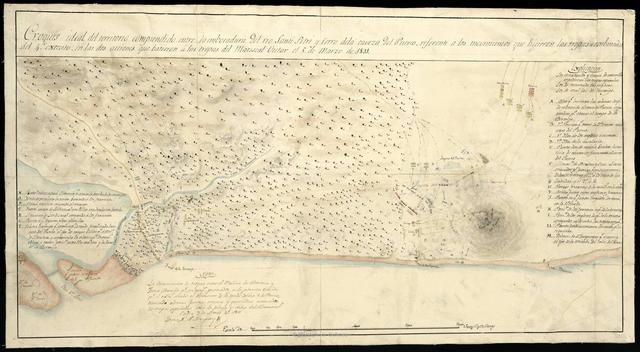 Croquis ideal del territorio comprendido entre la embocadura del rio Santi - Petri y Cerro de la Caveza de l Puerco, referente a los movimientos que hicieron las tropas combinadas del 4. exercito en las dos acciones que batieron a las tropas del Mariscal Victor el 5 de Marzo de 1811