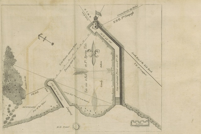 "map from ""Considerations on the necessity and importance of an Asylum Port in the Bay of Dublin: including remarks on the harbour erecting at Howth; and that ... proposed for Dunleary. [With an appendix containing copies of petititons in favour of the last named.] By a Seaman"""