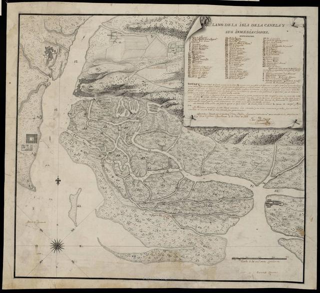Plano de la isla de la Canela y sus inmediaciones