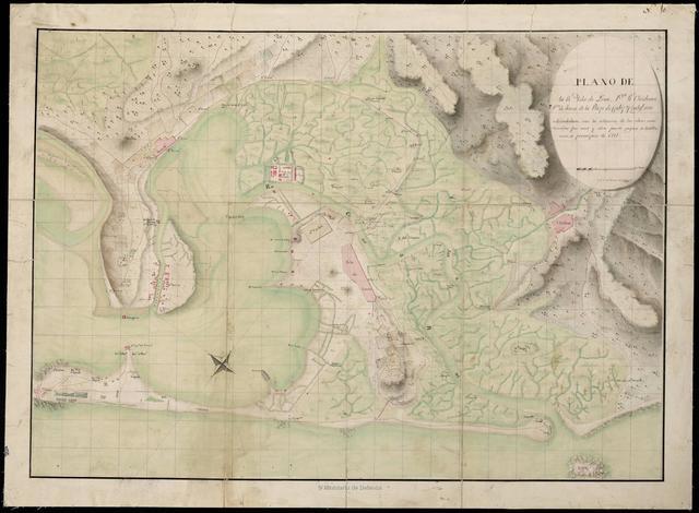 Plano de la Rl. Isla de León, Pto. Rl. Chiclana Pta. de Tierra de la Plaza de Cádiz y todos sus alrededores con la situación de las obras construidas por una y otra parte segun se hallavan a principios de 1811