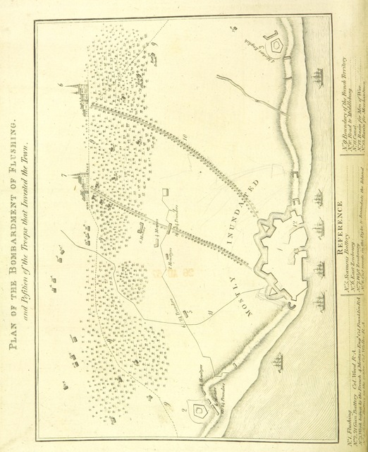 """map from """"An account of the Islands of Walcheren and South Beveland ... describing the ... operations of His Majesty's army during the siege of Flushing, etc"""""""