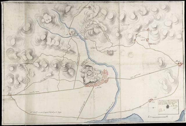 Plano aproximado del Castillo de Murviedro, y terreno de sus alrededores : levantado, en ocasion que lo ocupaban los enemigos, y hacian fuego