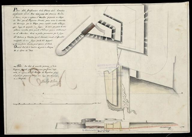 Plano de la fortificación de la Plaza de la Coruña confinante con el Mar dela parte del poniente llamado el Orzan, en que se expresa el Murallon propuesto en Mayo de 1811 por el Ingeniero Director