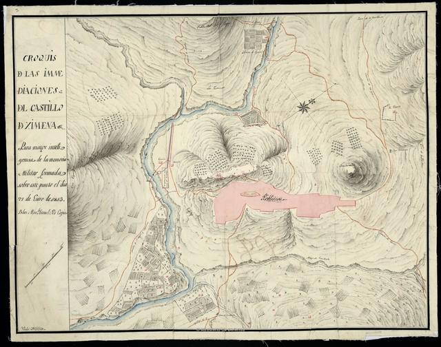 Croquis de las inmediaciones del Castillo de Ximena : Para mayor inteligencia de la memoria Militar formada sobre este punto el dia 27 de Enero de 1813