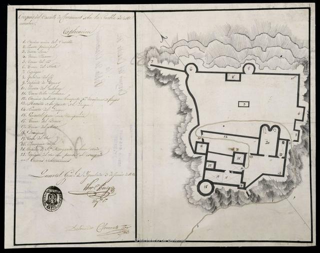 Croquis del Castillo de Claramunt sobre la Pueble de este nombre