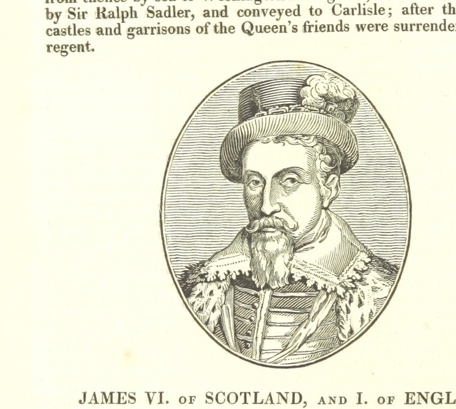 "James I from ""The History of the Kingdom of Scotland ... to the happy Union of both kingdoms ... in 1602 ... By Richard Burton (N. Crouch). A new edition, with woodcut portraits [of the first part of ""The History of the Kingdoms of Scotland and Ireland.""] [Edited by James Caulfield.] L.P"""