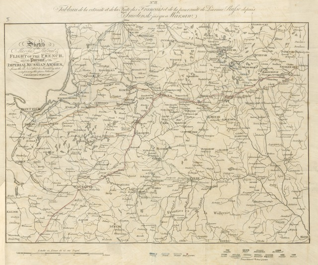 """Map from """"Sketch of a Journal of the Retreat and Flight of the French Armies from Moscow, and the pursuit of the Russians, to their arrival on the Vistula. [By Charles Hamilton Smith. With maps.]"""""""