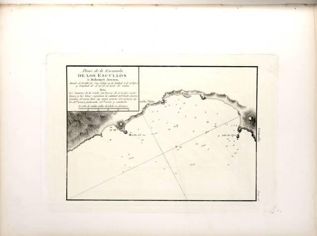 Plano de la ensenada de los Escullos ó Mahomet Arraez : situado el Castillo de San Felipe en la latitud N. de 36°48'0'' y longitud de 4°15'10'' al E. de Cádiz