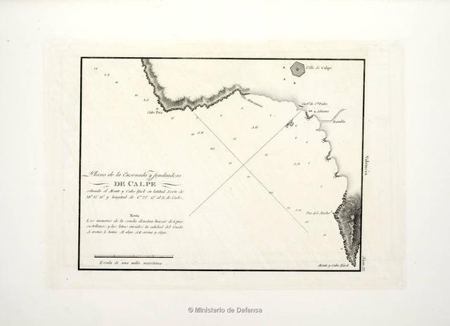 Plano de la ensenada y fondeadero de Calpe : situado el Monte y Cabo Ifack en latitud Norte de 38°37'10'' y longitud de 6°22'12'' al E. de Cadiz
