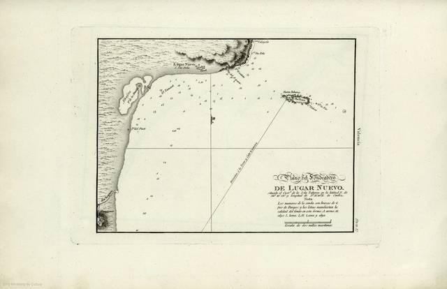 """Plano del Fondeadero de Lugar Nuevo : situado el Casto. de la Isla Tabarca en la latitud N. de 38º 10' 13"""" y longitud de 5º 51' 00"""" E. de Cadiz"""