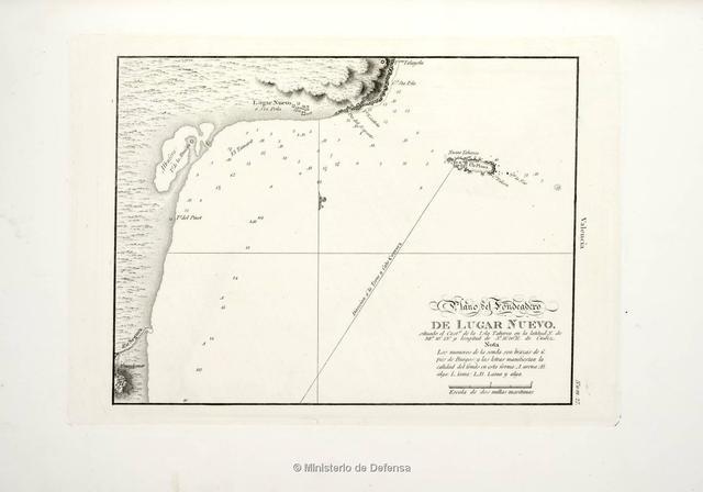 Plano del fondeadero de Lugar Nuevo : situado el Casto. de la Isla Tabarca en la latitud N. de 38°10'13'' y longitud de 5°51'00'' E. de Cadiz